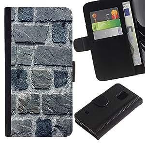 Paccase / Billetera de Cuero Caso del tirón Titular de la tarjeta Carcasa Funda para - Stone Wall Gray House Building Macro - Samsung Galaxy S5 V SM-G900