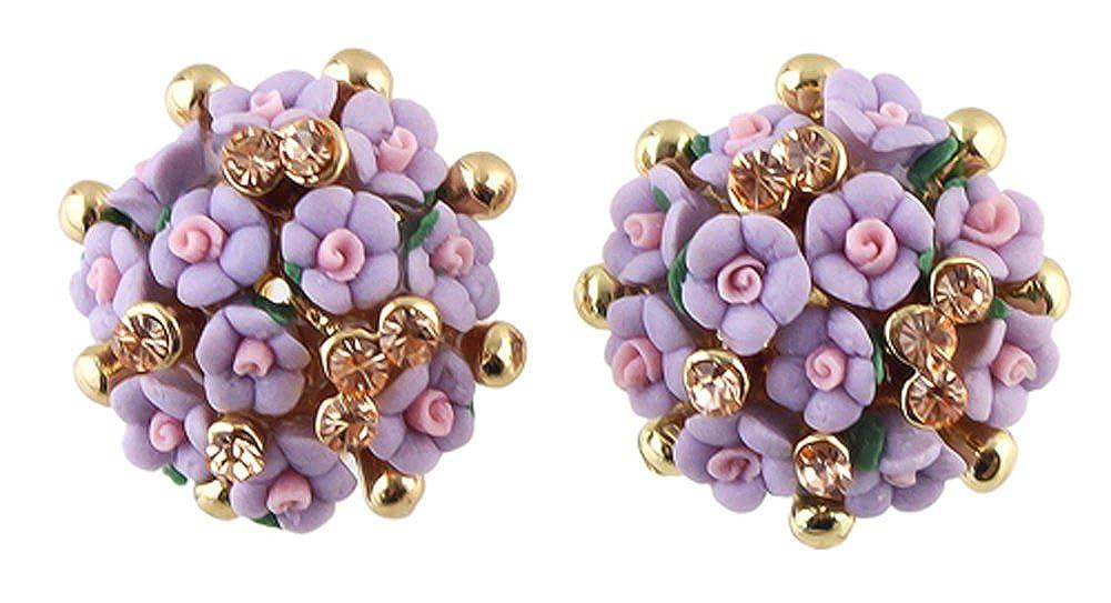 Romantic Pink Resin Flower Rhinestone Gold Color Richy-Glory