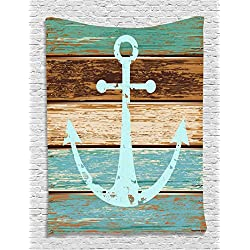 Nautical Decor Anchor Rustic Wooden Planks Marine Maritime Sea Ocean Coastal Antiqued Aged Decor Digital Print Fashion Tapestry Wall Hanging Art Work for Bedroom Living Room Bedroom, Teal Khaki Brown