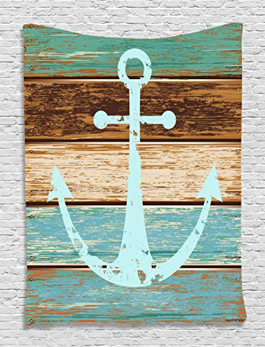 Nautical Decor Anchor Rustic Wooden Planks Marine Maritime Sea Ocean Coastal Antiqued Aged Decor Digital Print Fashion Tapestry Wall Hanging Art Work for Bedroom Living Room Bedroom, Teal Khaki Brown (Teal And Brown Wall Art)