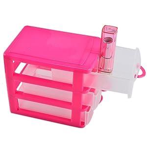 haoun 3-Tier Mini Desktop Organizer Drawer Type Storage Box - Pink
