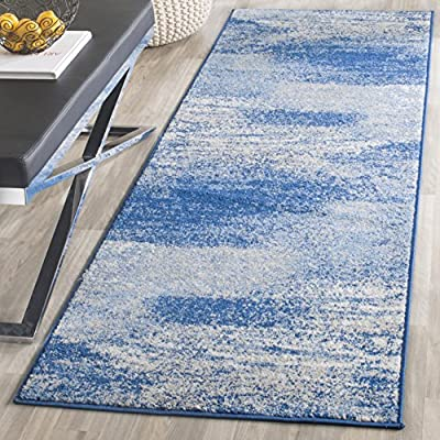 "Safavieh Adirondack Collection ADR112F Silver and Blue Modern Abstract Runner (2'6"" x 6')"