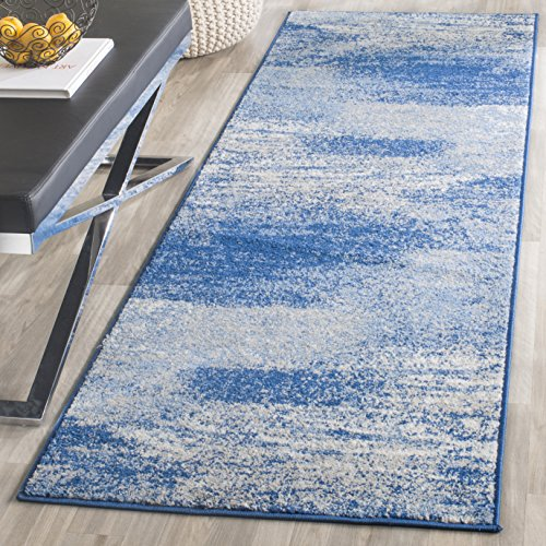 2'6 10' Blue Runner X (Safavieh Adirondack Collection ADR112F Silver and Blue Modern Abstract Runner (2'6