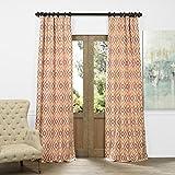 HPD HALF PRICE DRAPES JQCH-AS225098-84 Faux Silk Jacquard Curtain, Dart Rust, 50″ x 84″ For Sale