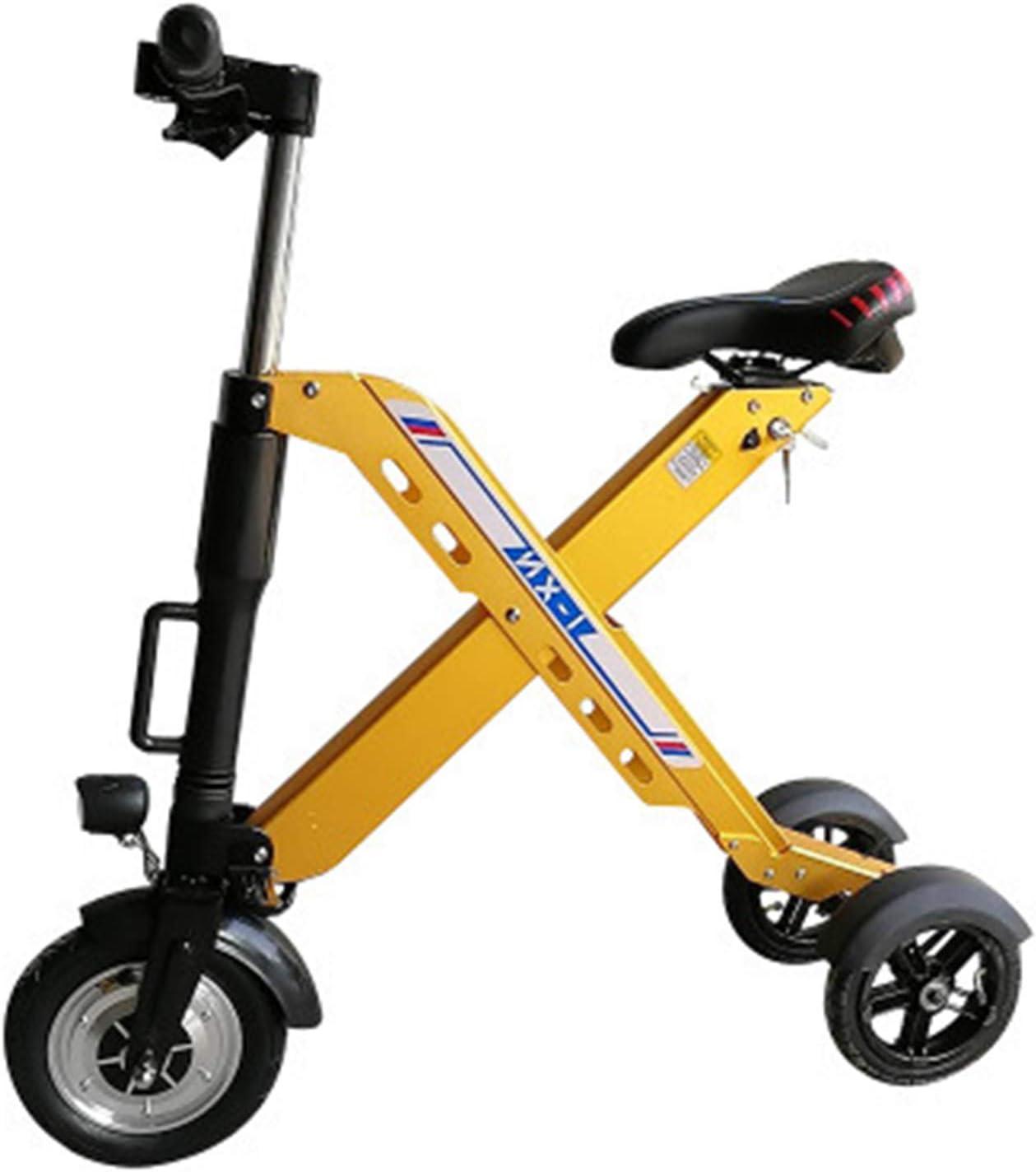 Zidao Plegable de Tres Ruedas e-Bike, Mini pequeña Bicicleta eléctrica para Hombres Mujeres Citypendeln ultraligeros Adultos Velocidad máxima 25 km por Hora,Amarillo