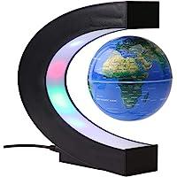"Magnetic Globe Floating Globe, 3"" C Shape Colored LED Magnetic Levitation World Globe Map for Home/Office Desk Decoration"