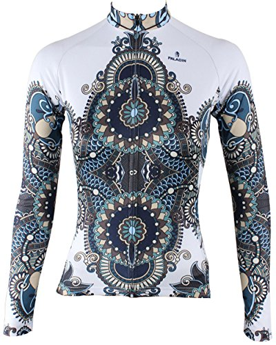 (QinYing Cycling Jersey,Women Patterns Stylish Breathable Bicycle Jersey Long Sleeve White L )