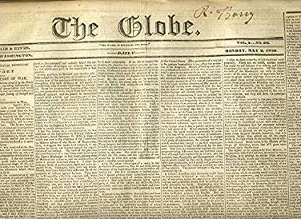 Amazon.com : The GLOBE Newspaper Washington DC May 2, 1836 Secretary War  President Jackson : Everything Else