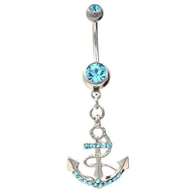 Gem Paved Fancy Anchor Ship Boat Wheel Navel Ring Aqua Cz Gems Dangle Belly Button Piercing Jewelry