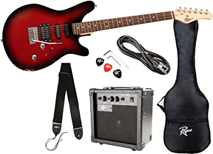 Amazoncom Rogue Rocketeer Electric Guitar Pack Red Burst Musical