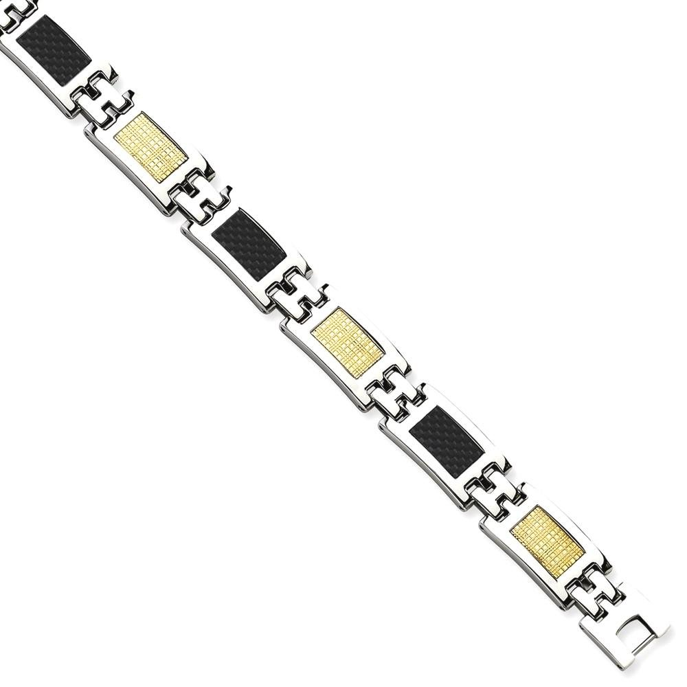 ICE CARATS Stainless Steel 14k Gold Filled Carbon Fiber Inlay 8 Inch Bracelet Man Link Men Fine Jewelry Dad Mens Gift Set