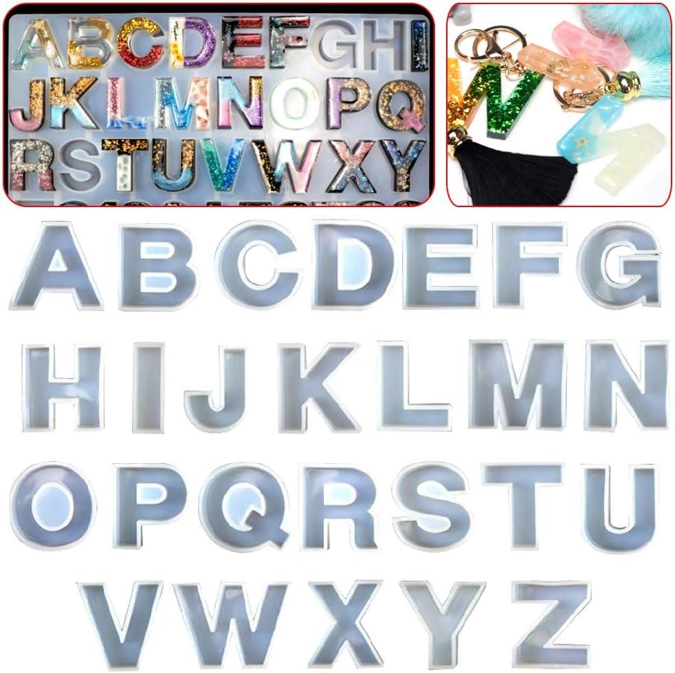 per fai da te in silicone a forma di alfabeto A-Z Set di 26 stampi in resina epossidica con lettere inglesi e cristalli Baiyao