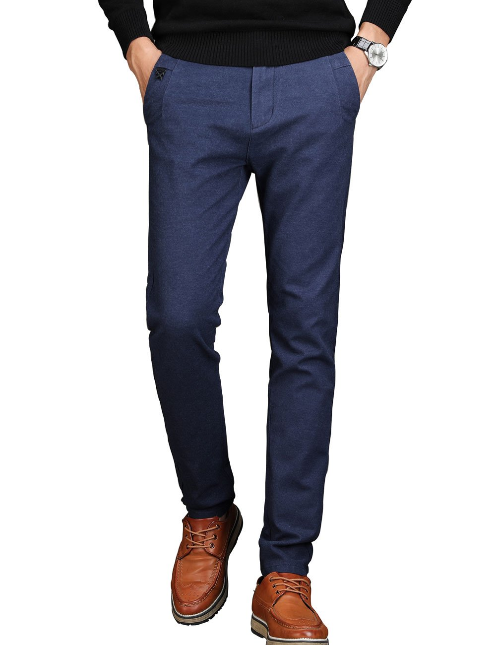 VEGORRS Men's Tapered Slim Fit Wrinkle-Free Casual Stretch Dress Pants,Classic Fit Flat Front Trousers,Blue Pants