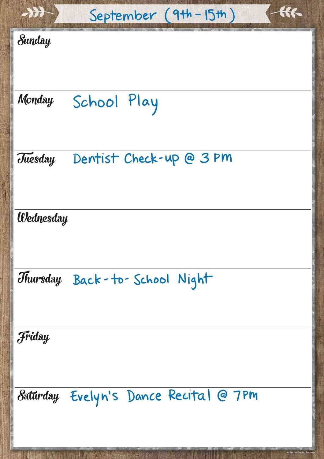 Teacher Created Resources Home Sweet Classroom Clingy Thingies Weekly Schedule (TCR77873)