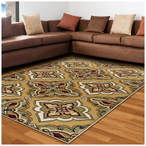Superior Crawford Collection Area Rug, 8mm Pile Height with Jute Backing, Gorgeous Mediterranean Tile Pattern, Fashionable and Affordable Woven Rugs - 5' x 8' Rug, Gold (Rug Shug)