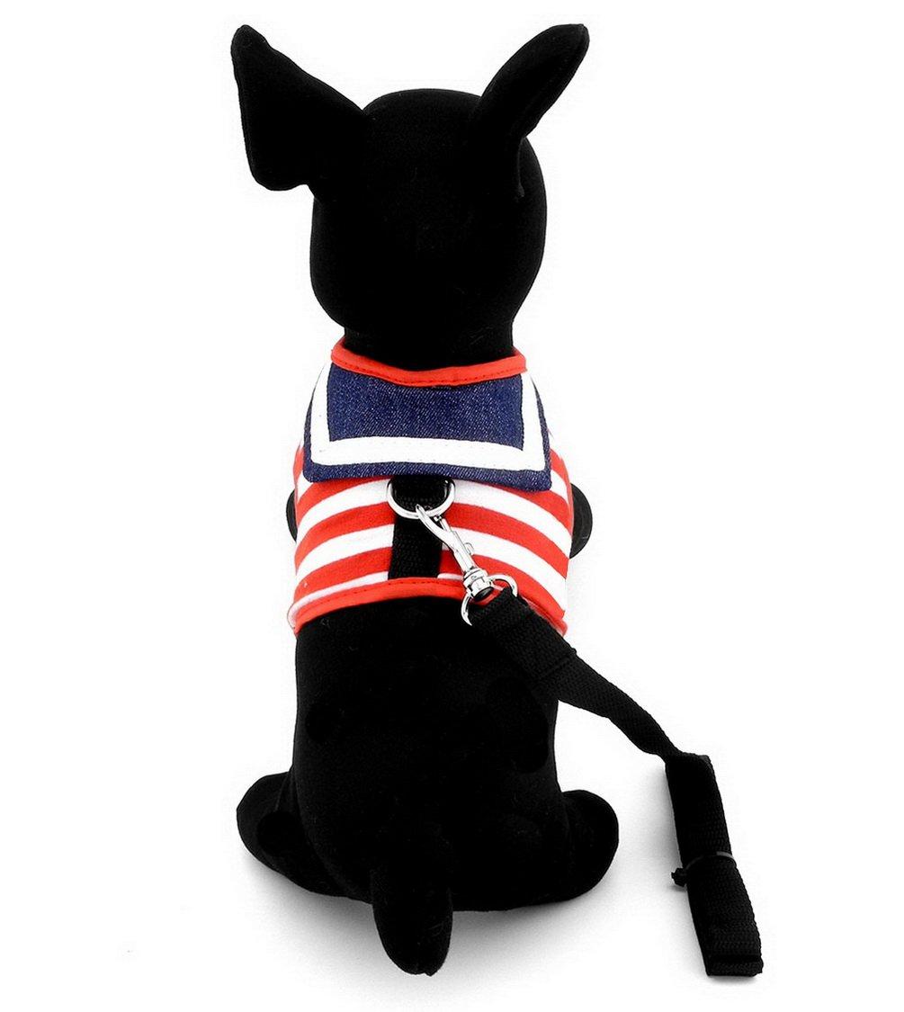 smalllee/_lucky/_store Mascotas Ropa para Mascotas Rayas Marinero Chaleco arn/és Correa de Malla Acolchada Plomo Negro M