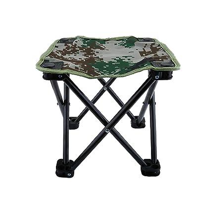 Mini Chaise Pliante Siège Tabouret Pliable Léger Portable avec Sac de Rangement pour Camping Pêche Escalade Randonnée - Couleur Camouflage