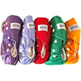 Adenous Baby Cloth Diaper - Reusable, Washable, One Size Adjustable, Soft 5 Pack with Microfiber Inserts - Shower Gift - Baby
