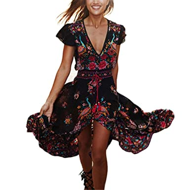 50131288b604 Amazon.com  KMG Kimloog Women V-Neck Short Sleeve Floral Print Boho Party  Beach Sundress Belted High Low Long Maxi Dress  Clothing