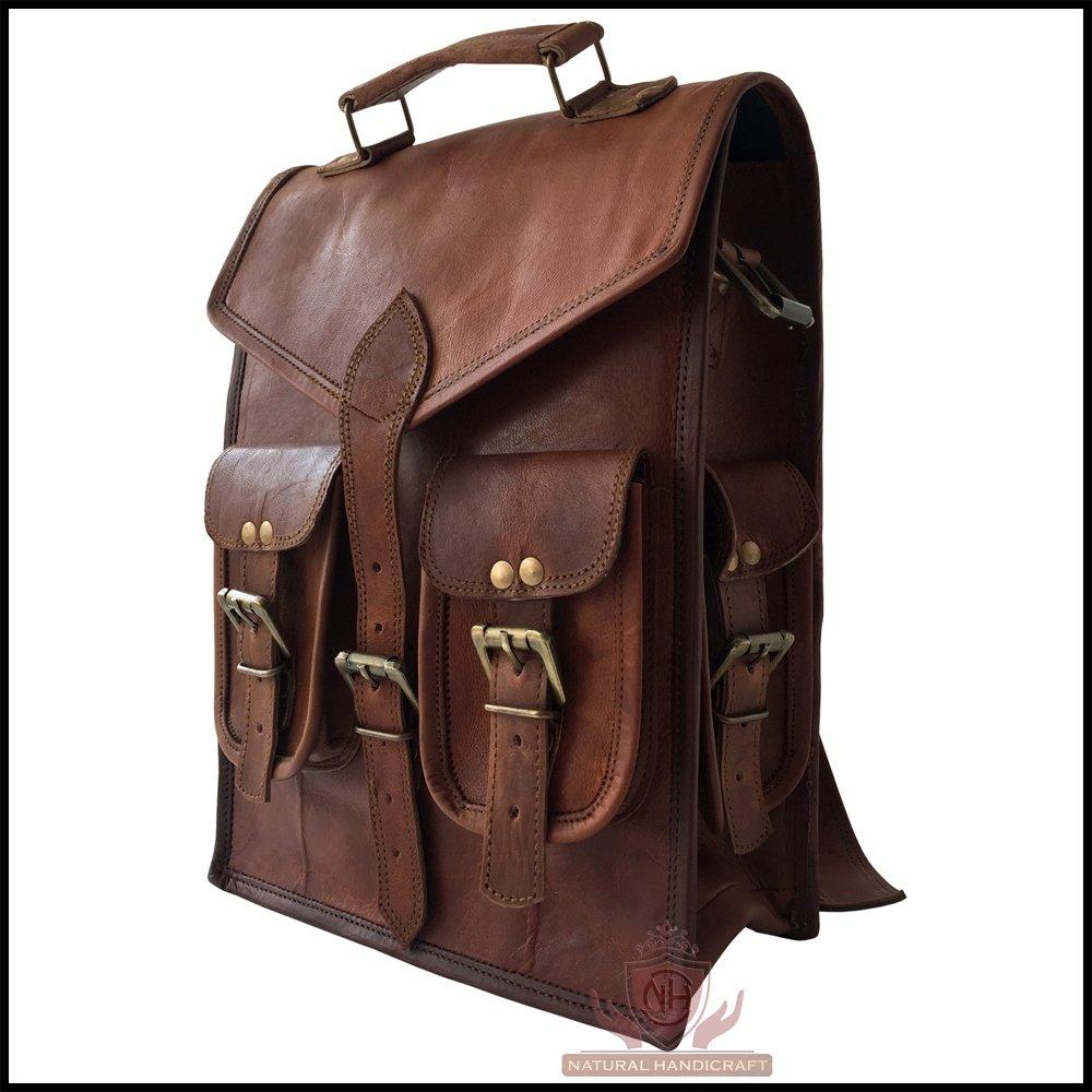 Men's Real Goat Leather Vintage Handmade Bag Backpack Laptop Crossbody Shoulder Bag Rucksack Messenger Briefcase Satchel Travel Luggage Bag Convertible 17(H) x 12(L) Inch Natural Handicraft