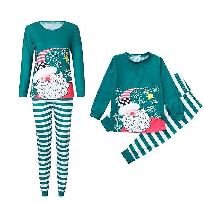 76d0132140da Mambain Pigiama Famiglia Set Natale Pantaloni + Maglietta Due Pezzi Babbo Natale  Stampe Bambino Donna Uomo
