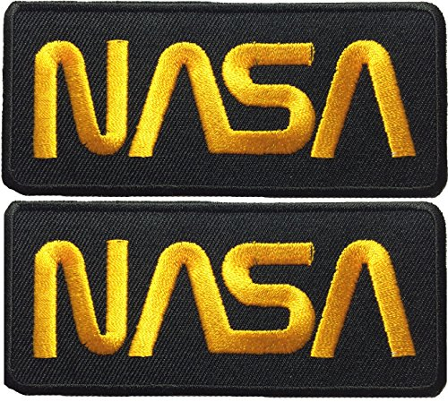 Set 2 of Nasa Space Shuttle Vector Discovery Agency Houston USA Embroidered Appliques Hat Cap Polo Backpack Clothing Jacket Shirt DIY Sewing Iron On Costume Badge Logo Patch - Black Yellow]()