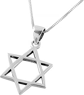 Amazon mens sterling silver star of david pendant with ajdesign 925 sterling silver classic star of david pendant necklace for men women with chain aloadofball Choice Image
