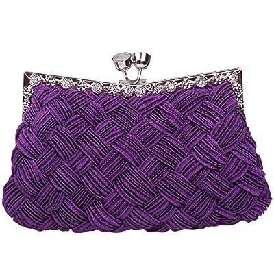 Fawziya Velvet Sequin Kiss Lock Purses And Handbag Satin Flower
