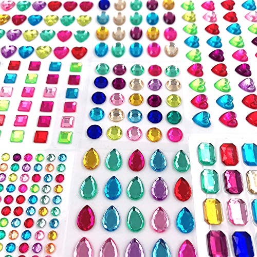 Self Adhesive Jewels Stickers,Flat Back Rhinestone Stickers Gem Stickers Self Adhesive Bling Jewels for Crafts365 Pieces