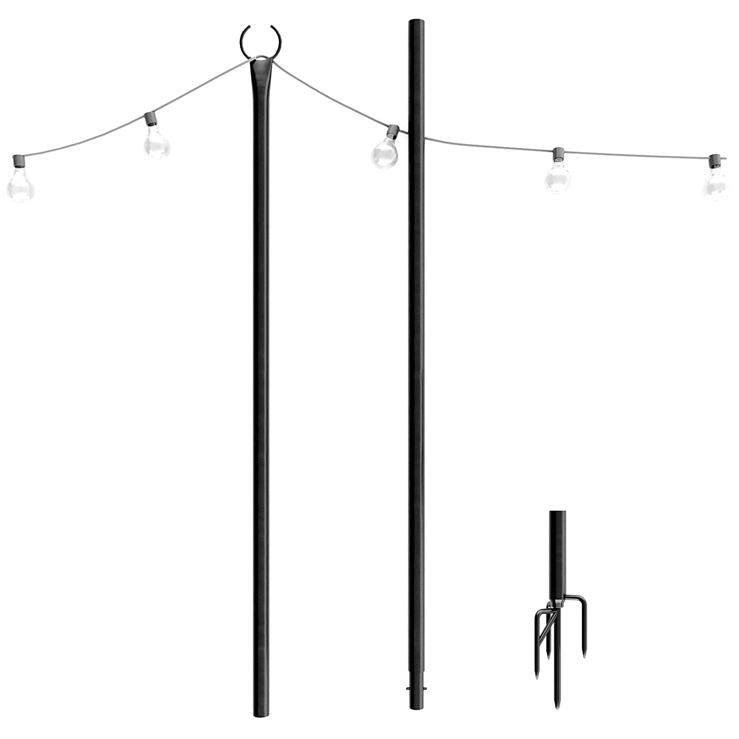 Outdoor String Lights Pole (1 x 8f) – New 4-Prong Sturdy Fork to Dig Deep -  Light Up Patio or Garden with LED Or Solar Hanging Bulbs - Water-Resistant