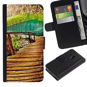 Planetar® Modelo colorido cuero carpeta tirón caso cubierta piel Holster Funda protección Para Samsung Galaxy S3 MINI / i8190 (Not For S3) ( Nature Beautiful Forrest Green 9 )