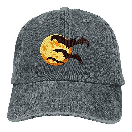 SUJV-T9 Retro Denim Cap Hat Bat Cute Halloween Adjustable Sports Baseball Hat for Adults (Cena Di Halloween A Casa)