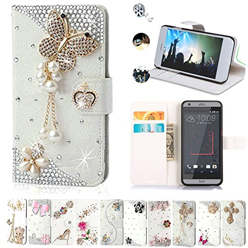 HTC Desire 530 Cases, Htc Desire 630 Case, AMASELL Glitter Bling Diamonds [Stand View] PU Leather Flip & Card Slot Holder + Magnetic Folio Wallet Cases for Htc 530/630 Cover, pearl jewelry butterfly