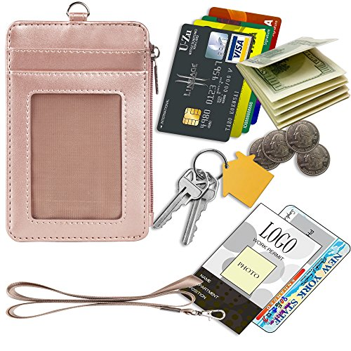 Detachable Strap Zipper (Badge Holder with Zipper, Arae PU Leather ID Badge Card Holder Wallet with [2 ID Window] Cash Pockets Credit Card Slots and Detachable Lanyard/Strap (Zipper-Vertical, Rose Gold))