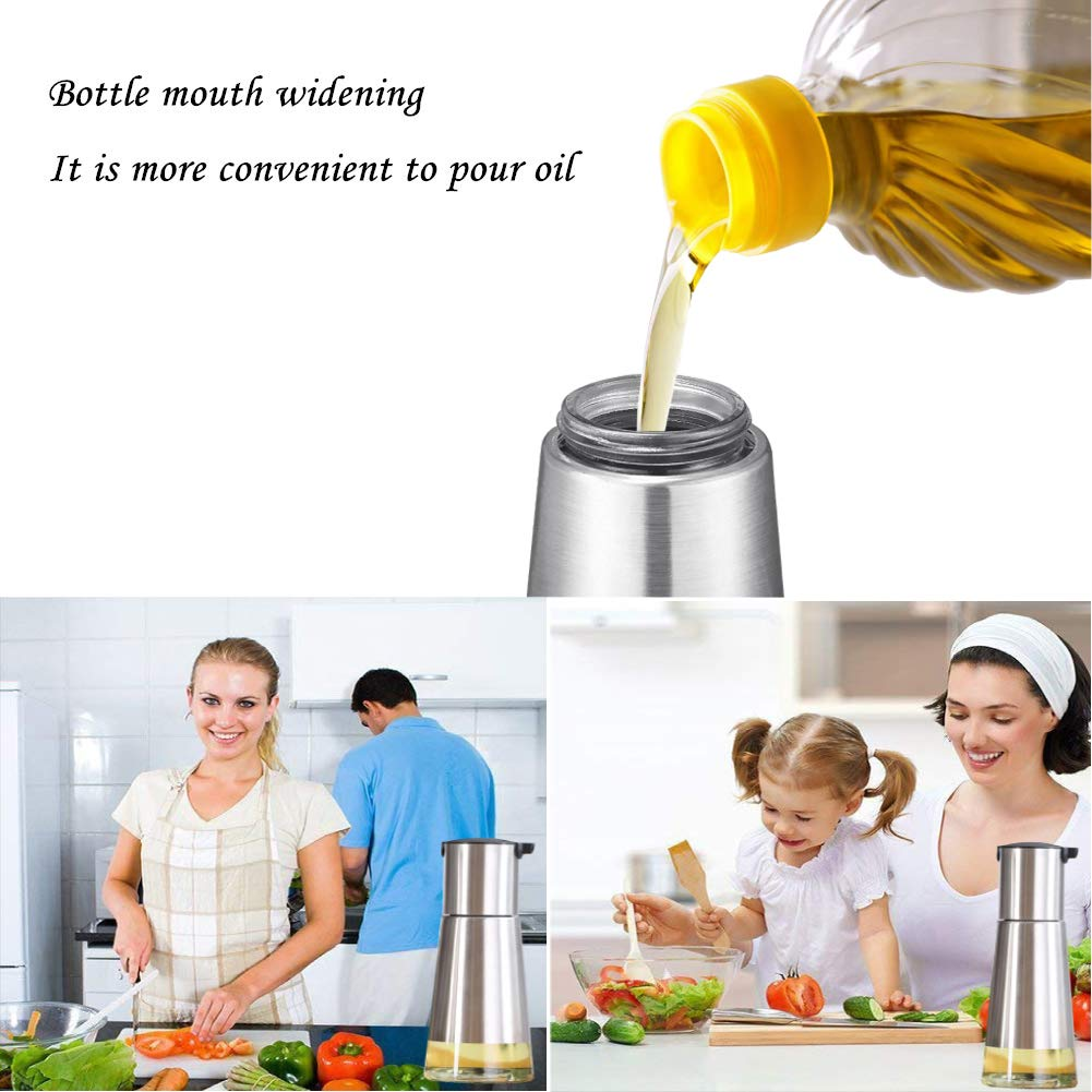 Amazon.com: Controllable Oil And Vinegar Dispenser, Kitchen Glass Olive Oil Bottle Set, No Drip Design Cooking Oil Container Small, 304 Stainless Steel ...