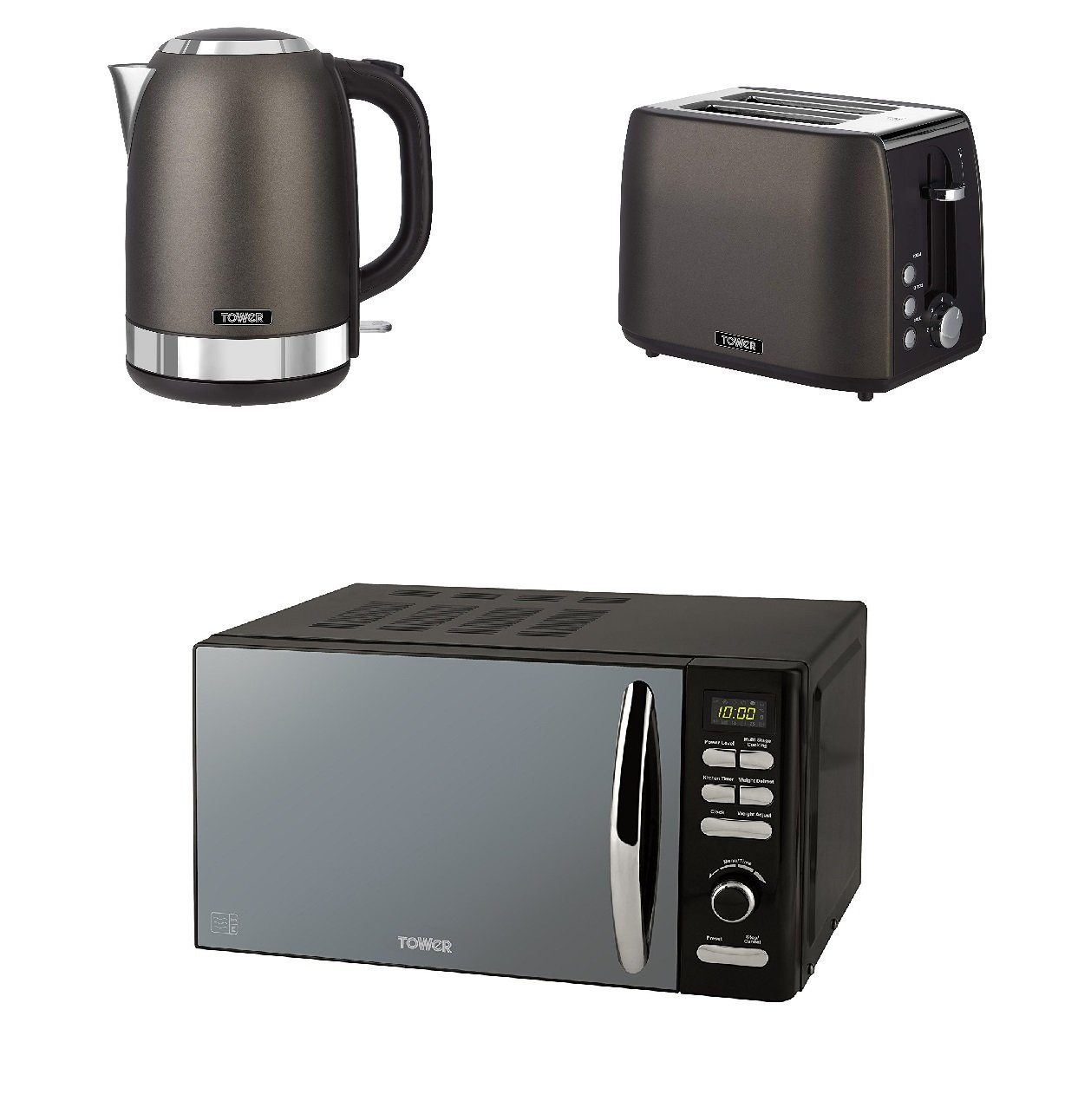 Black Titanium Kitchen Electrical Appliance Tower Set - Black Digital Solo 800 W, 20 L Microwave and a 1.7L S/S Jug Kettle and a 2 Slice Toaster T0wer