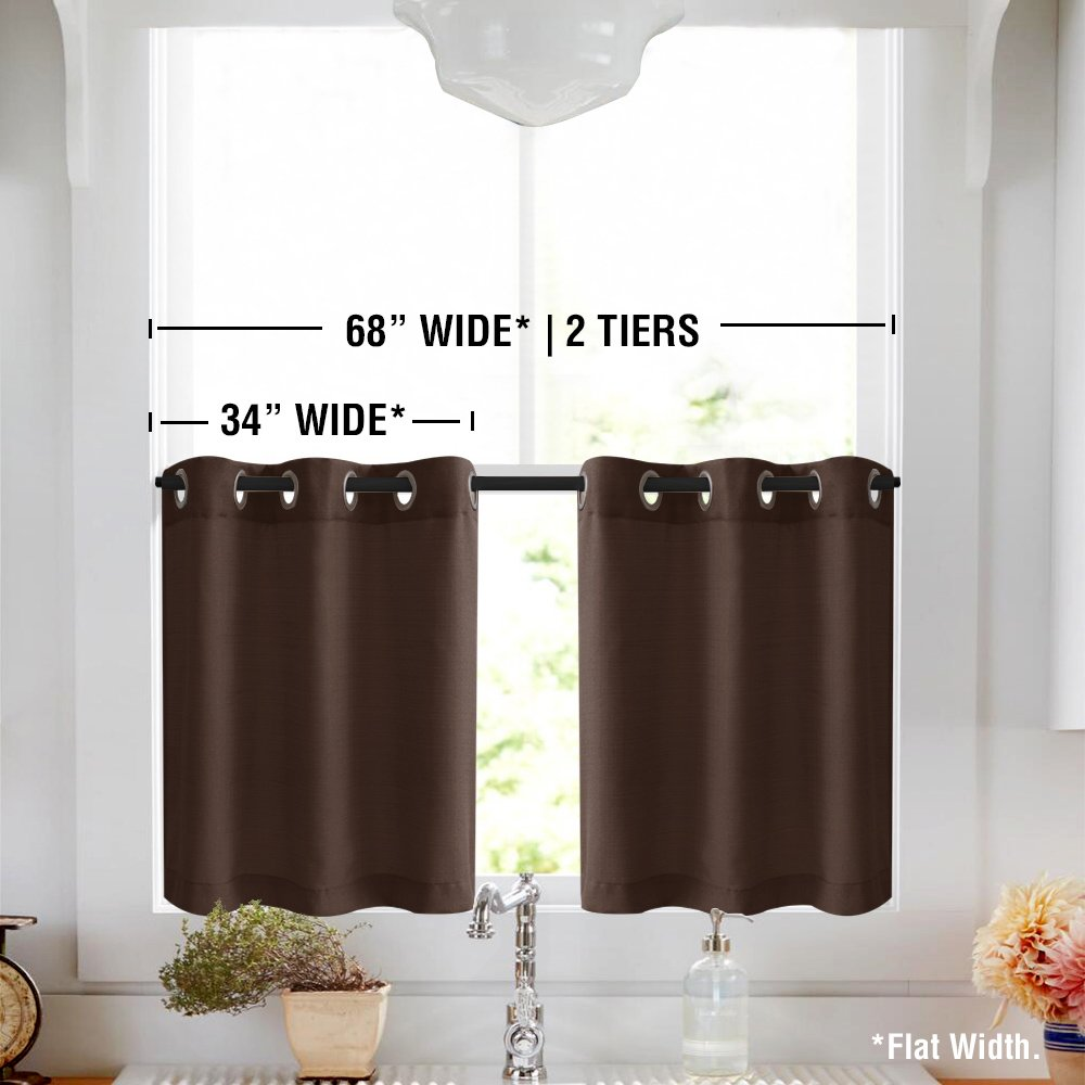 1 Pair White Sheer Tier Curtains for Kitchen Casual Weave Short Window Curtian Privacy Semi Sheer Curtains for Living Room 36 Long 36 Long TOPICK TPUSGMWLS-3436C08