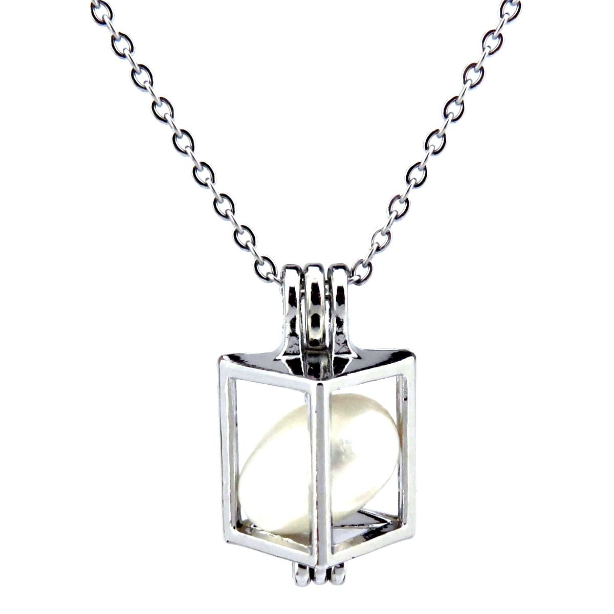 Stones Horse Locket Necklace Geometry Create Your own Pearls Stainless Steel Chain Rocks Horse Beads Cage