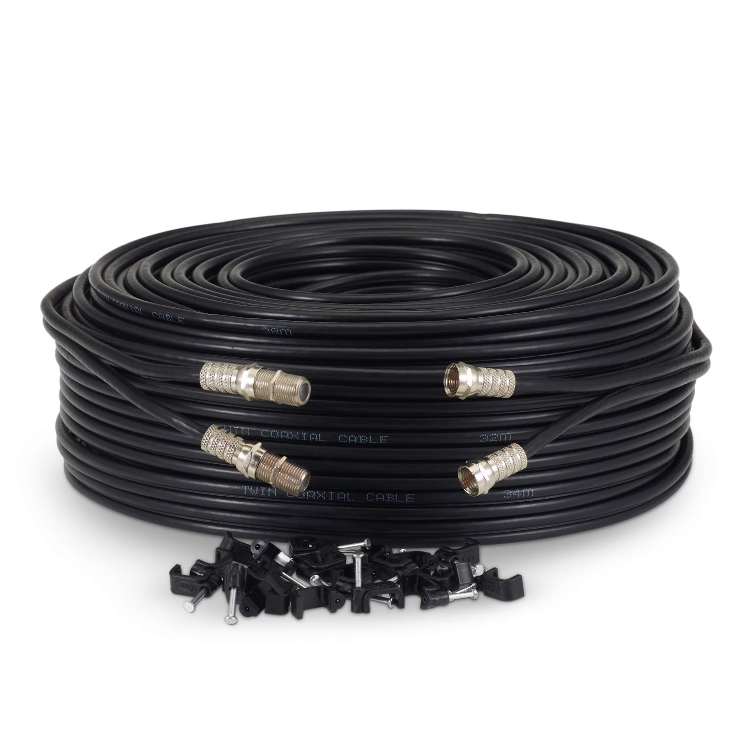 10 Meter, Black Sky Satellites 10 m Twin Satellite Shotgun Coax Cable Extension Kit with Fitted F Connectors for Sky HD Q and Freesat Black