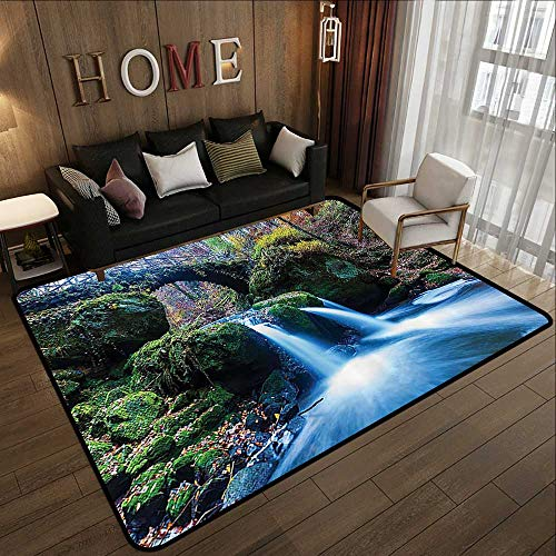 Bath Rugs for Bathroom,Apartment Decor Collection,Waterfall Flows Under an Ancient Stone Bridge Between Mossy Rocks in Luxembourg Image,Green O 47