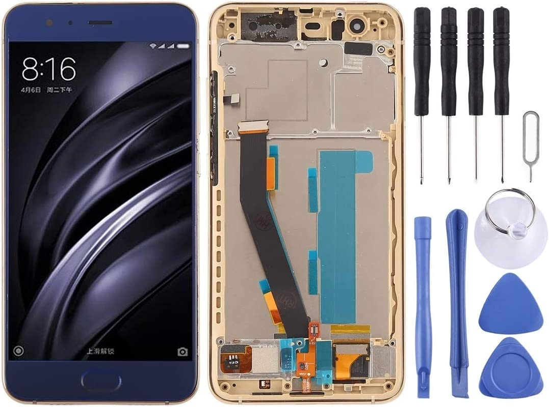 Color : Blue Black Smartillumi for LCD Screen Replacement LCD Screen and Digitizer Full Assembly with Frame for Xiaomi Mi 6