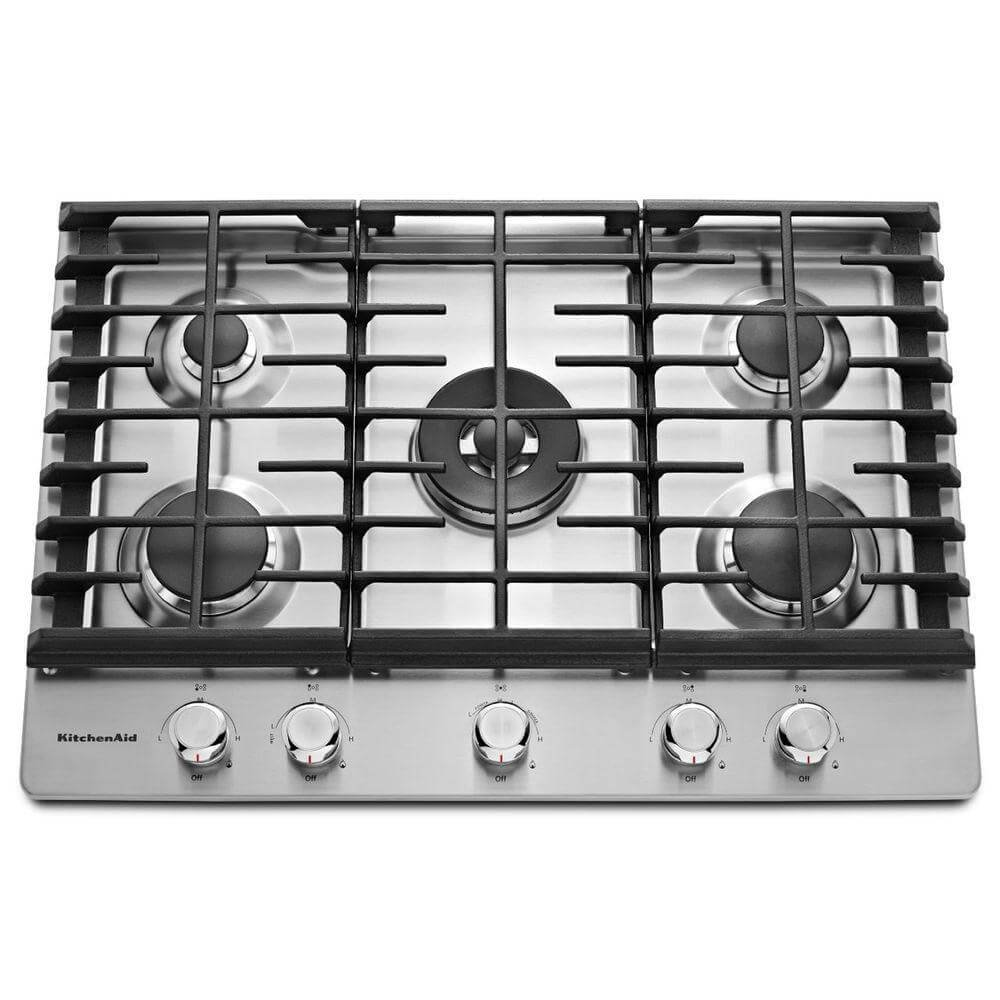 "KitchenAid 30"" Stainless Steel 5-Burner Gas Cooktop KCGS550ESS"