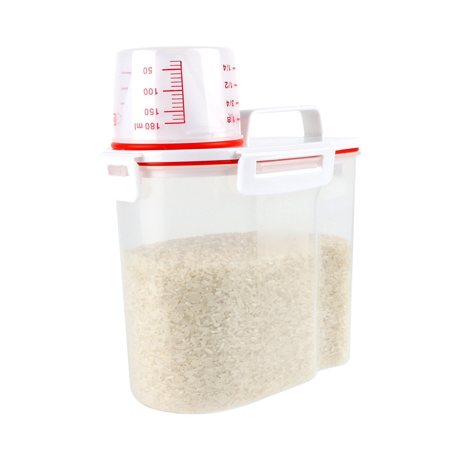 Rice Storage Cereal Containers - Airtight Design with 4 Buckles & 2 silicone seal + BPA Free + Measuring Cup + Pour Spout For Store Beans Sugar rice snacks (1.5L Red )