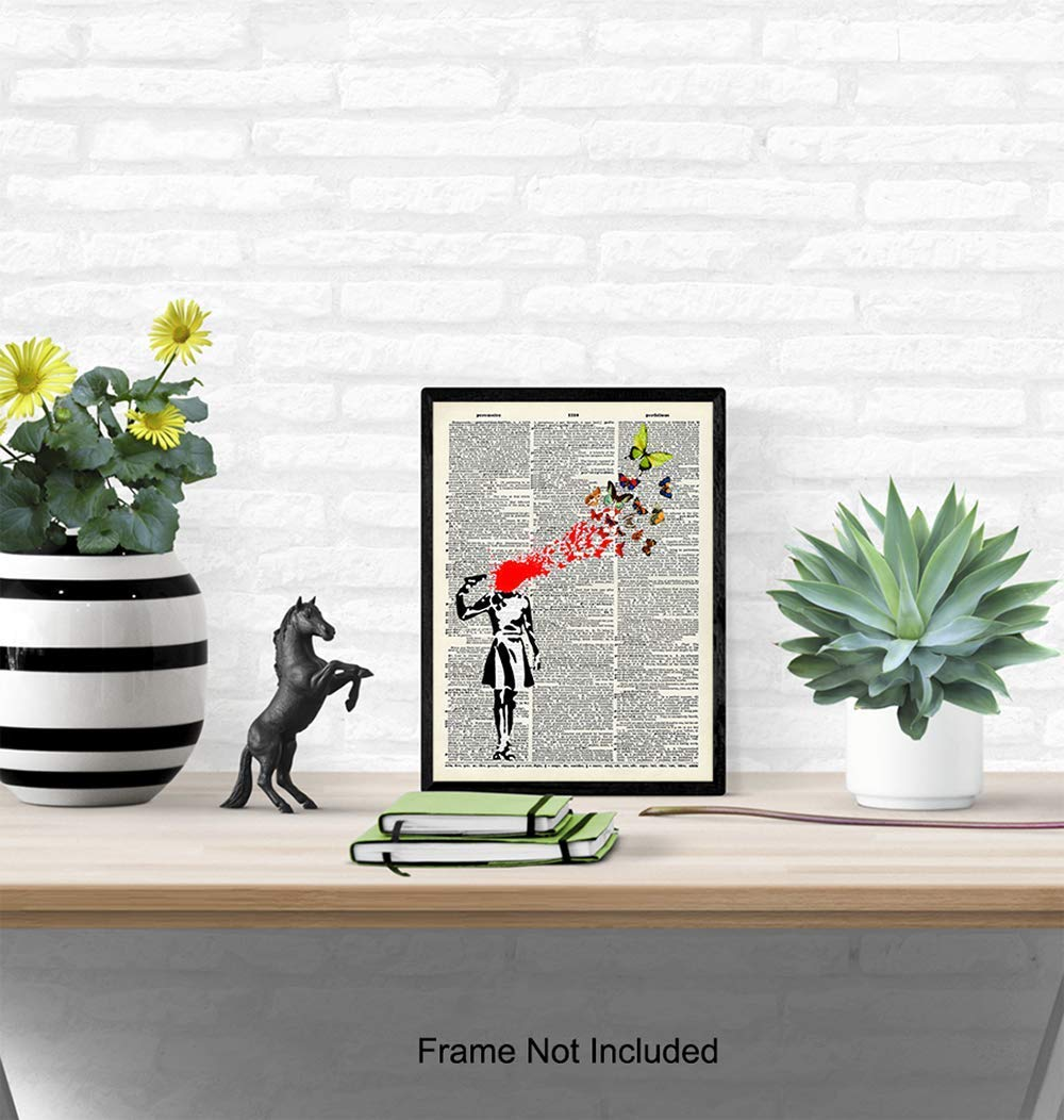 Home Decor 8x10 Photo Unframed Mural Fans Banksy Poster Upcycled Vintage Graffiti Wall Art Print Gift for Street Art Dictionary Art Suicide Girl Unique Hipster Room Decorations for Office