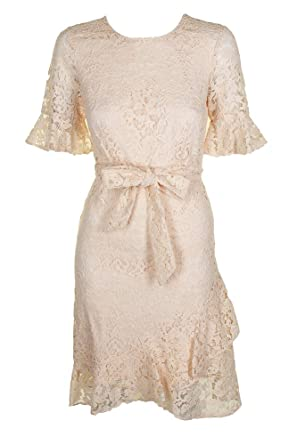 6a8539a0c7 Image Unavailable. Image not available for. Color  DKNY Womens Lace Elbow  Sleeves Cocktail Dress Pink 6