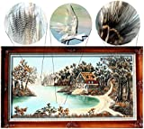 Handmade Riverbed Feather Art with Frame (X-Large)