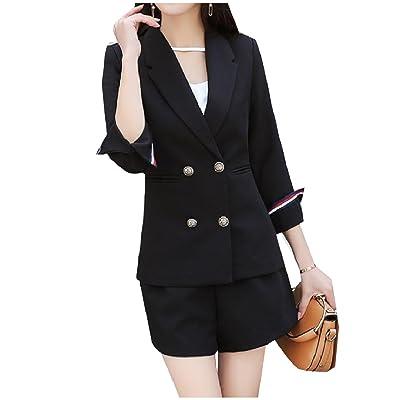 Abetteric Womens Classic Pure Color Notch Lapel Jacket Suit Short Pants