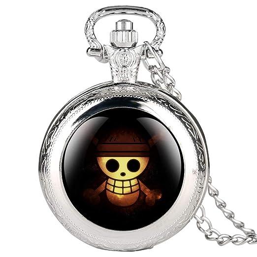 Reloj de Bolsillo Plateado para Hombres, Reloj de Bolsillo con patrón de Calavera para Estudiantes, Relojes de Bolsillo Digitales arábigos para niños: ...