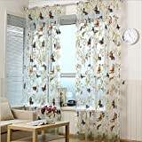 AliFish 1 Panel Dandelion and Butterfly Pattern Window Treatment Sheer Curtains Rod Pocket Tulle Curtains for Living Room W52 x L96 inch