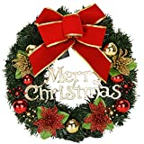 Christmas Garland Outdoor Party Decoration Bowknot Decorative Wreath with Lights